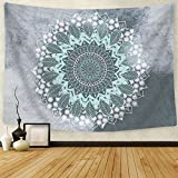 BLEUM CADE Tapestry Mandala Hippie Bohemian Tapestries Wall Hanging Flower Psychedelic Tapestry Wall Hanging Indian Dorm Decor for Living Room Bedroom (S-59.1''×59.1'', Mandala Tapestry)