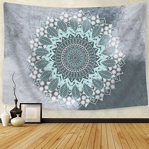 - BLEUM CADE Tapestry Mandala Hippie Bohemian Tapestries Wall Hanging Flower Psychedelic Tapestry Wall Hanging Indian Dorm Decor for Living Room Bedroom (Teal, 59.1 x 59.1 inches)