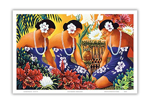 - Silent Preparation - Hawaiian Hula Dancers - Original Color Painting by Warren Rapozo - Hawaiian Master Art Print - 12 x 18in