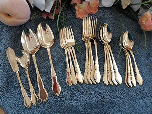 1881 Rogers Oneida - GOLDEN ALOUETTE Oneida 1881 Rogers USA Vintage Gold Flatware Nice 20-piece Odd Lot Excellent Used