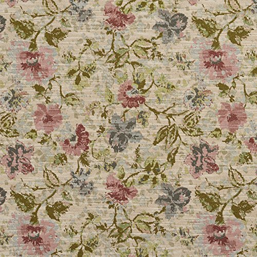 - Garden Dark Green Light Blue Light Geen Pink Rose Floral Foliage Tapestry Upholstery Fabric by the yard