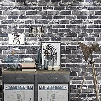Okydoky Vinyl Waterproof Vintage Grey Brick Wallpaper Livingroom