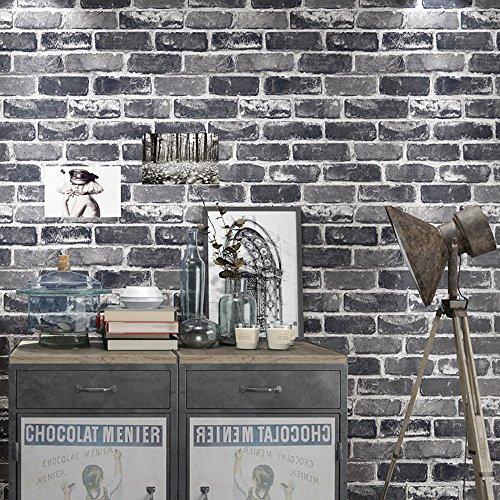 Okydoky Vinyl Waterproof Vintage Grey Brick Wallpaper, Livingroom Bedroom Kitchen Background No.57101