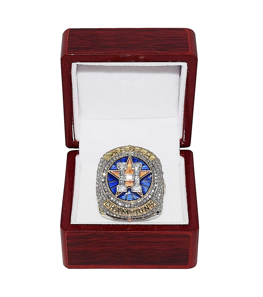HOUSTON ASTROS (Jose Altuve) 2017 WORLD SERIES CHAMPIONS (First Series Title) HOUSTON STRONG Collectible High-Quality Replica Silver & Gold Baseball Championship Ring with Cherrywood Display Box Trackside Autographs