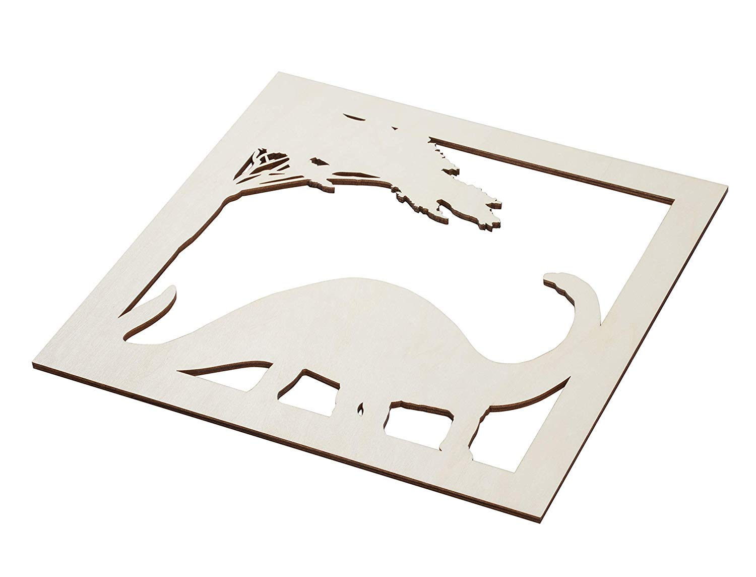 Genie Crafts 2-Piece Unfinished Brontosaurus Dinosaur Cutout, Jurassic Wall Art Decor for Painting, DIY Wood Crafts, and Signs, 11.6 x 0.2 Inches