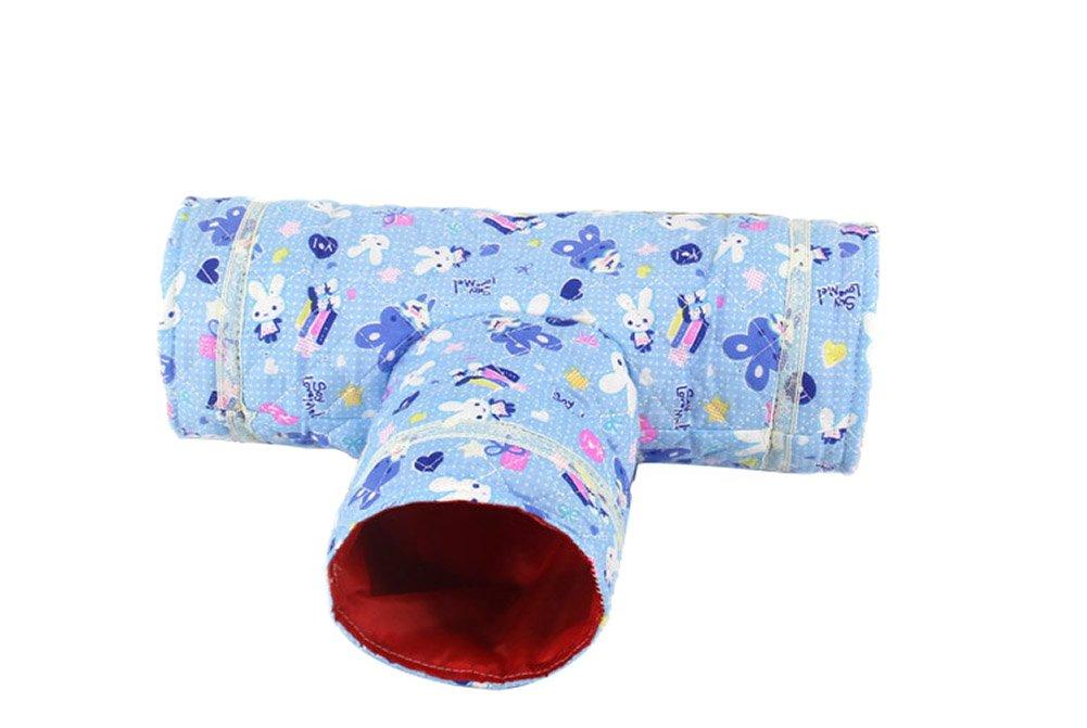 Wildforlife 3 Way Cloth Tunnel Tube Toy Hamster/Hedgehog/Squirrel (Blue)