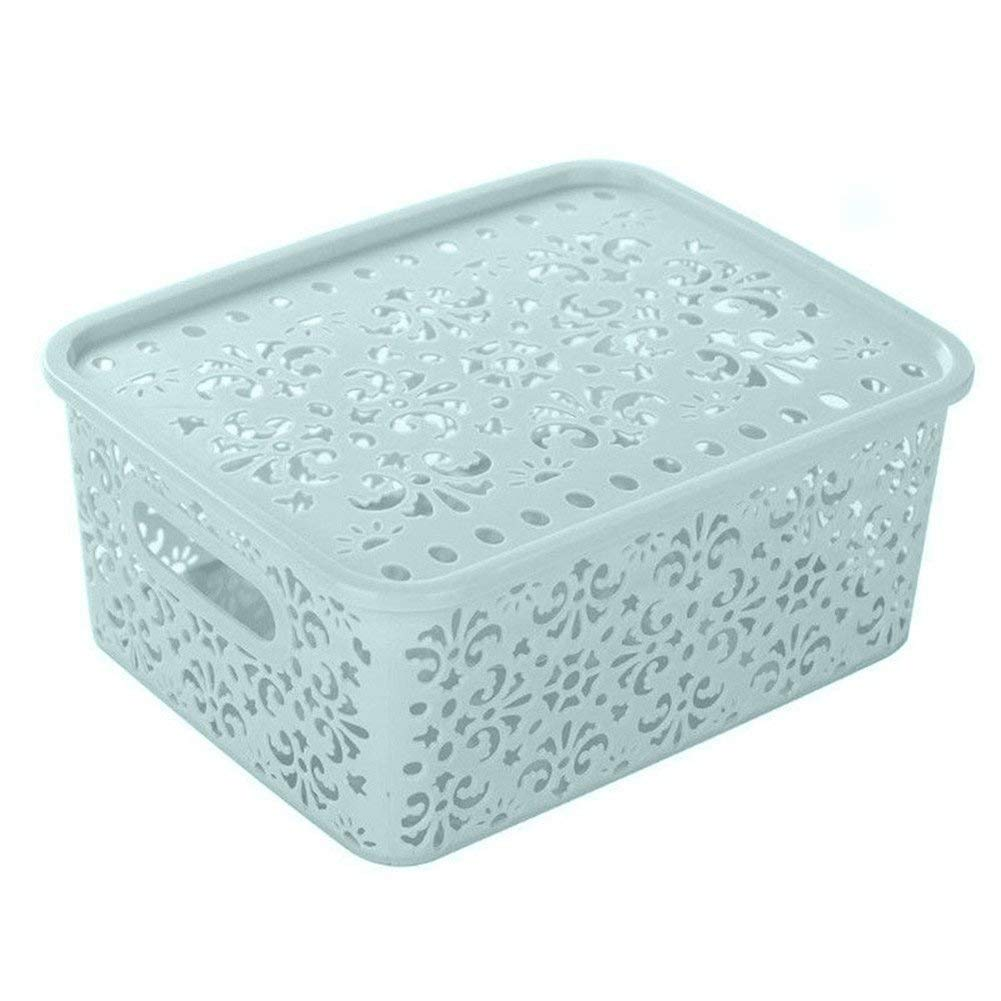 dragonaur Hollow Pattern Plastic Storage Basket Box Household Holder Container Organizer size Medium (Blue) MBSOCT13A913
