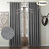 Artdix Room Darkening Curtains Panels Window Drapes – Grey 100W x 120L Inches (2 Panels) Double Pleated Nursery Insulated Thermal Solid Fabric Curtains for Bedroom, Living Room, Kids Room, Kitchen