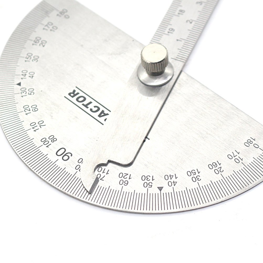 UEETEK Multifunctional Stainless Steel 180 Degree Protractor Angle Finder with Arm Measurement Measuring Folding Ruler Angle Engineer Protractor for Painting Drawing Measuring Instrument Ruler Tool