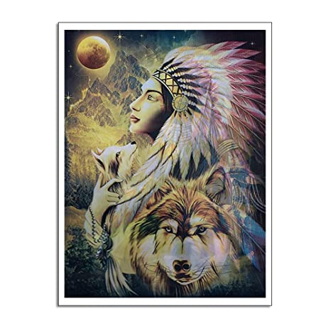WSNDGWS Modern Wall Art Indian Warrior Decoración del hogar ...