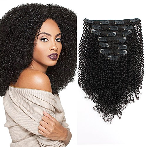 Beauty : AmazingBeauty 8A Grade Thick Real Remy Human 4B 4C Double Weft Kinkys Coily Clip Hair Extensions for African American Black Women, Natural Black, 120 Gram, 14 Inch