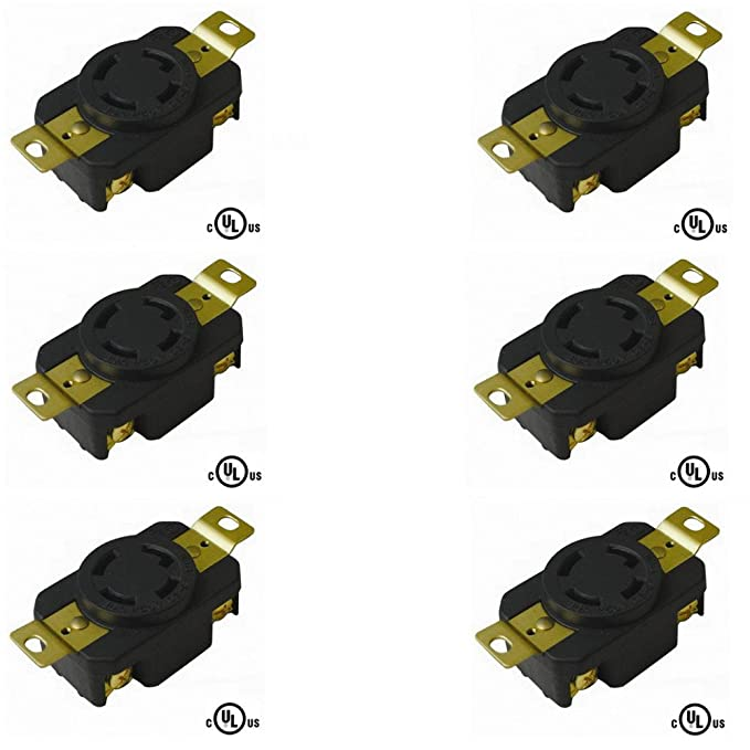 20A 250V AC NEMA L15-20 OCSParts L15-20LR Grounding Locking Receptacle cUL Listed Pack of 5 3 Pole 4 Wire