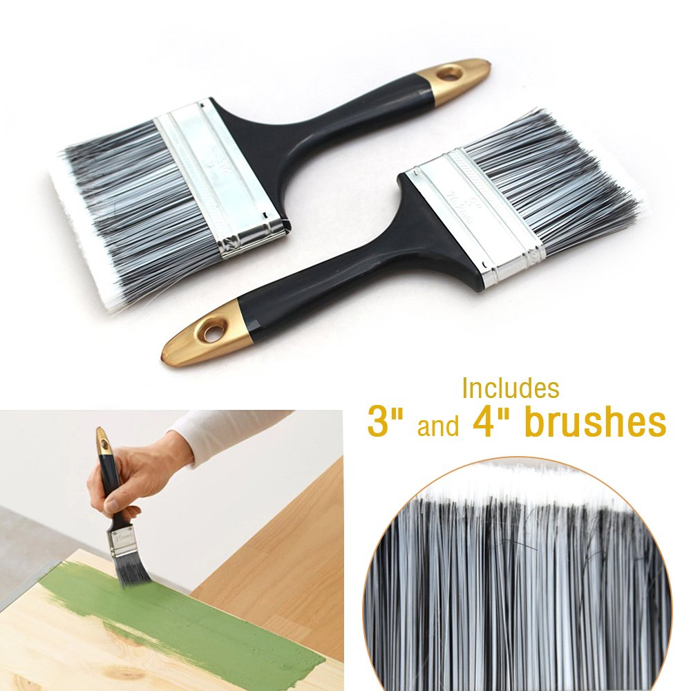 High Quality Professional Multi Purpose 2 Pack Paint Brush Set / Hand Brush Set with Plastic Handle Painting Home Decorating Gloss Emulsion Undercoat - DIY Decorative Tools And Accessories - Perfect for All Types of Paints Shooting Star Essentials