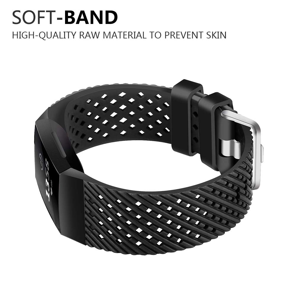 FunBand for Fitbit Charge 3 Strap Bands Easy Adjust Breathable with Ventilation Holes Soft Silicone Sport Replacement Accessory Bracelet Straps for Fitbit Charge 3 Fitness Activity Wristband