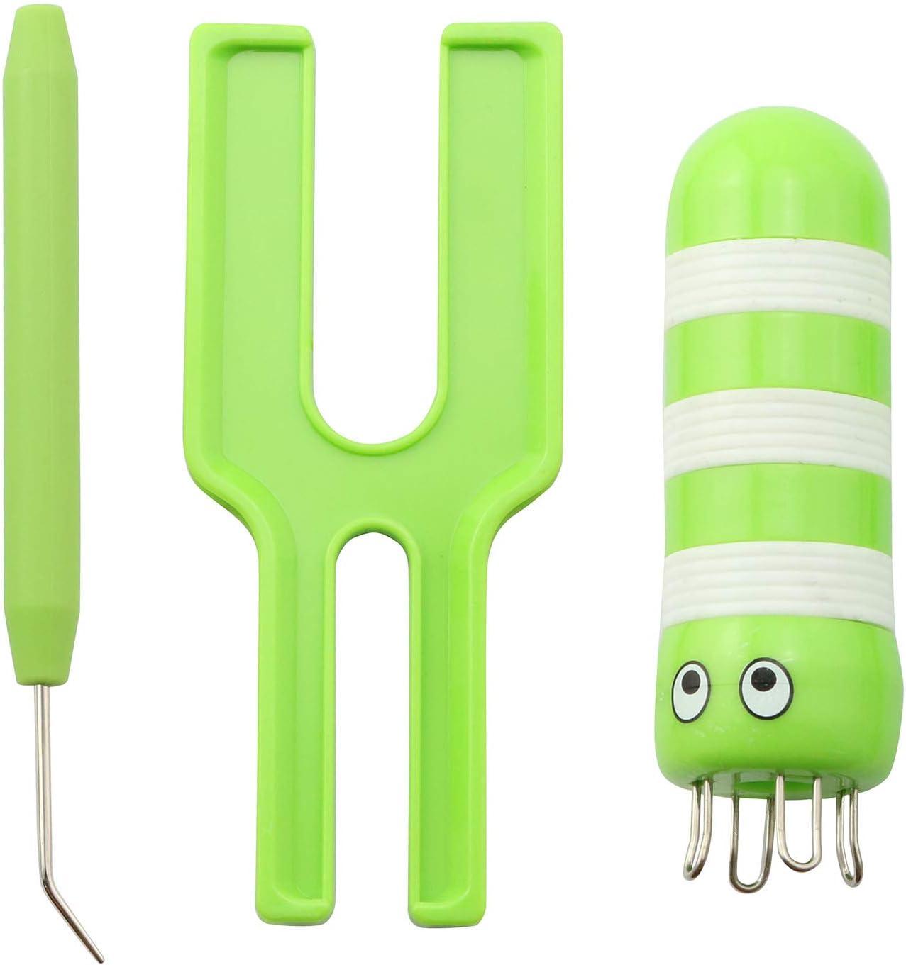 NX Garden 3IN1 Knitting Loom Set (1x Knitting Loom + 1x Awl + 1x Dual-Size Wo-Wo Maker), Green