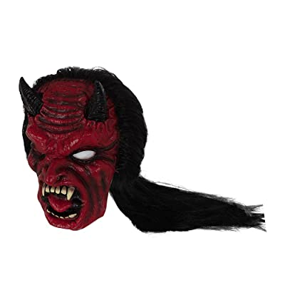 Bristol Novelty BM528 Devil Mask with Hair, Unisex-Adult, One Size: Toys & Games