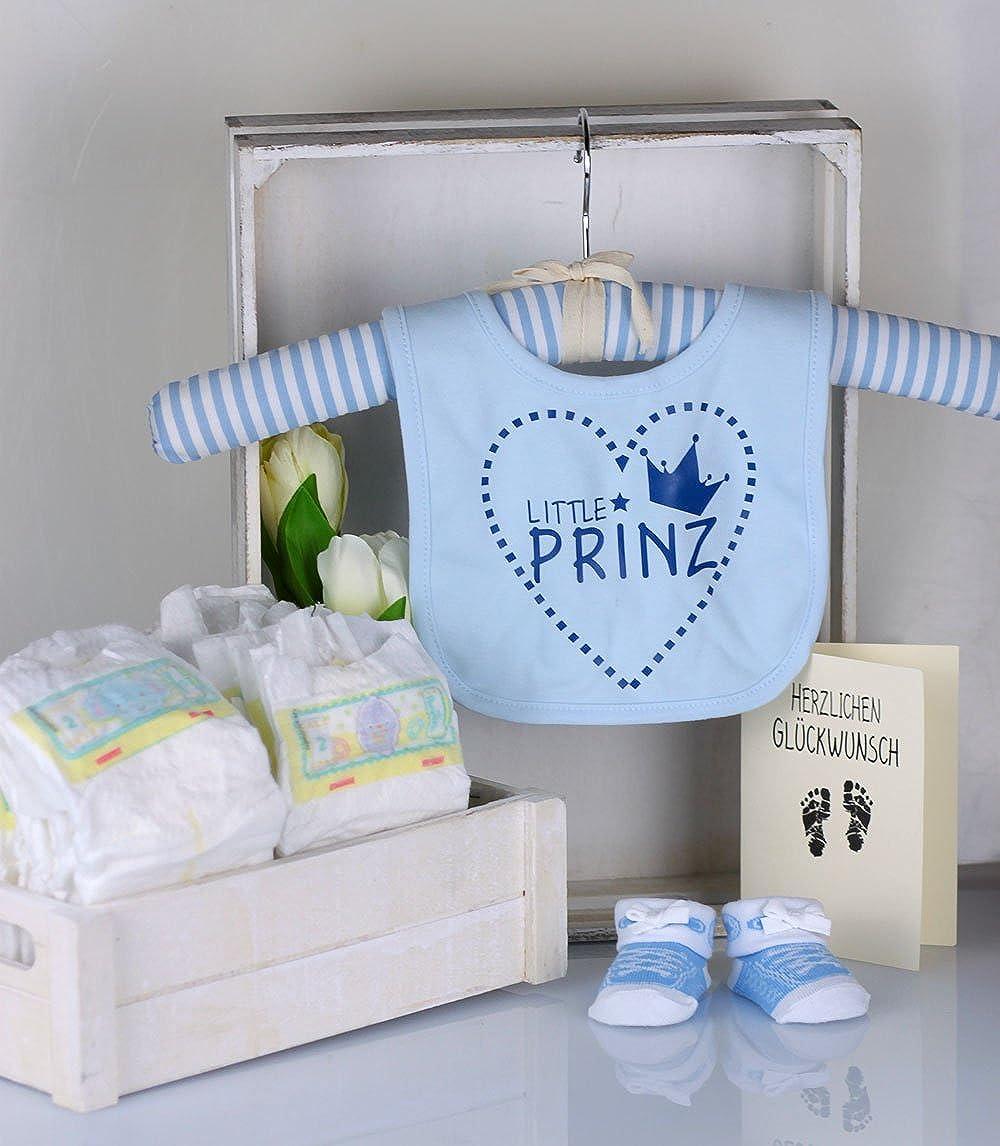 Trend Mama Windeltorte hellblau Junge L/ätzchen Babysocken Little Prinz