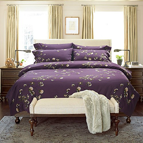 H&C 100% Egyptian Long Staple Cotton 1500T 4-Piece Duvet Cover Set Without Comforter Full Size Queen Size White Flowers Pattern Purple Background Rustic Floral Style