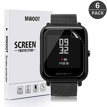 MWOOT 6 Unidades Protectores de Pantalla para Amazfit Bip Bluetooth Smartwatch Resistente a Arañazo Protector para Proteccion de Pantalla