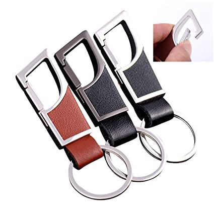 Amazon.com   3-Pack Premium Leather Key Chains Stainless Steel Key ... 2983fa023b