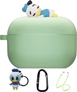 Silicone Protective Case Skin for Apple Airpod Pro, 4 in 1 Silicone Accessories Set Protective Cover, Silicone Case/Keychain/Carabiner/Anti-Lost Rope,Manually Paste The Doll (Green & Donald Duck)