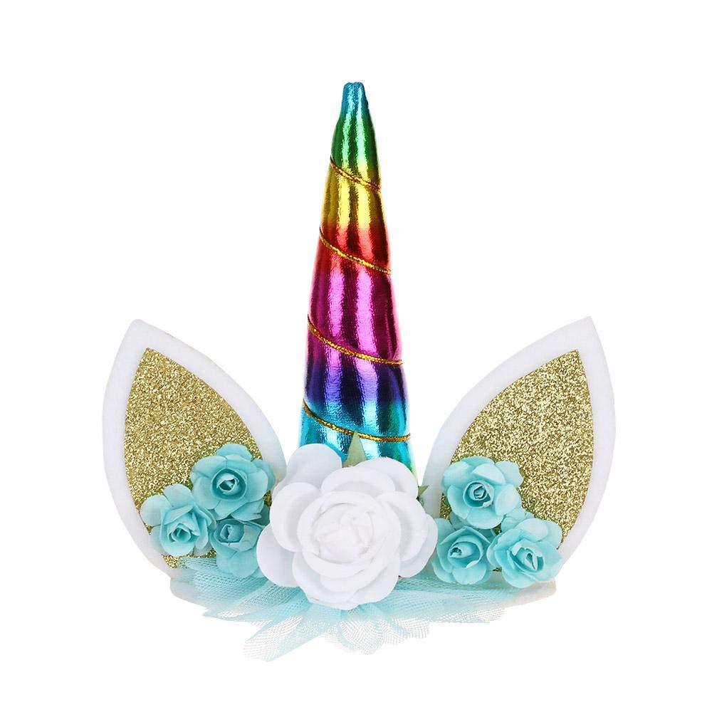 takestop® Topper Toppers Unicorno Unicorn Torta Cake Festa Compleanno Decorazioni Fiori Floreale Glitter Bambini (Oro) MOON ALX_898