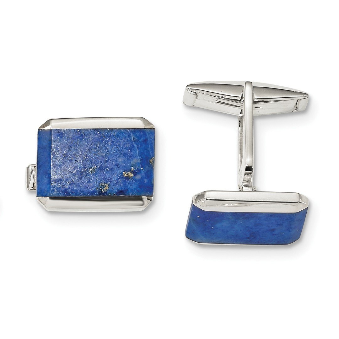 ICE CARATS 925 Sterling Silver Rectangle Lapis Cuff Links Mens Cufflinks Link Fine Jewelry Dad Mens Gift