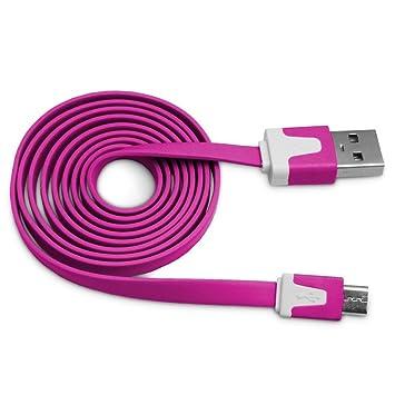 CABLE PLANO CARGADOR MICRO USB COLOR MORADO CARGA Y SINCRONIZACIÓN ...