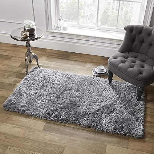 bedee Kunstfell Teppich Wohnzimmer Lammfell Teppich Grau Flauschig, Super Weich Hochflor Shaggy Teppich für Wohnzimmer Schlafzimmer Kinderzimmer Auto Esszimmer Kindermatte (120 X 160 cm)