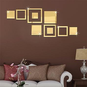 Buluke Kreative Kombination DIY Acryl Square Spiegel An Der Wand Kleben Gold