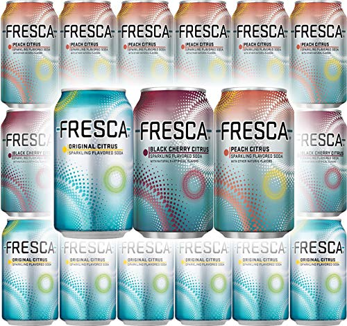 Fresca Soda, Original Citrus, Peach Citrus, Black Cherry Citrus - Variety Pack, 12 oz Can (Pack of 18, Total of 216 Oz)