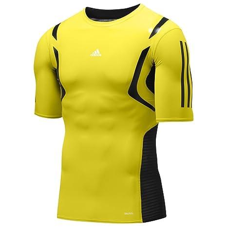 Adidas TECHFIT POWERWEB S/S TEE SHIRT Amarillo Hombre Camiseta Formación