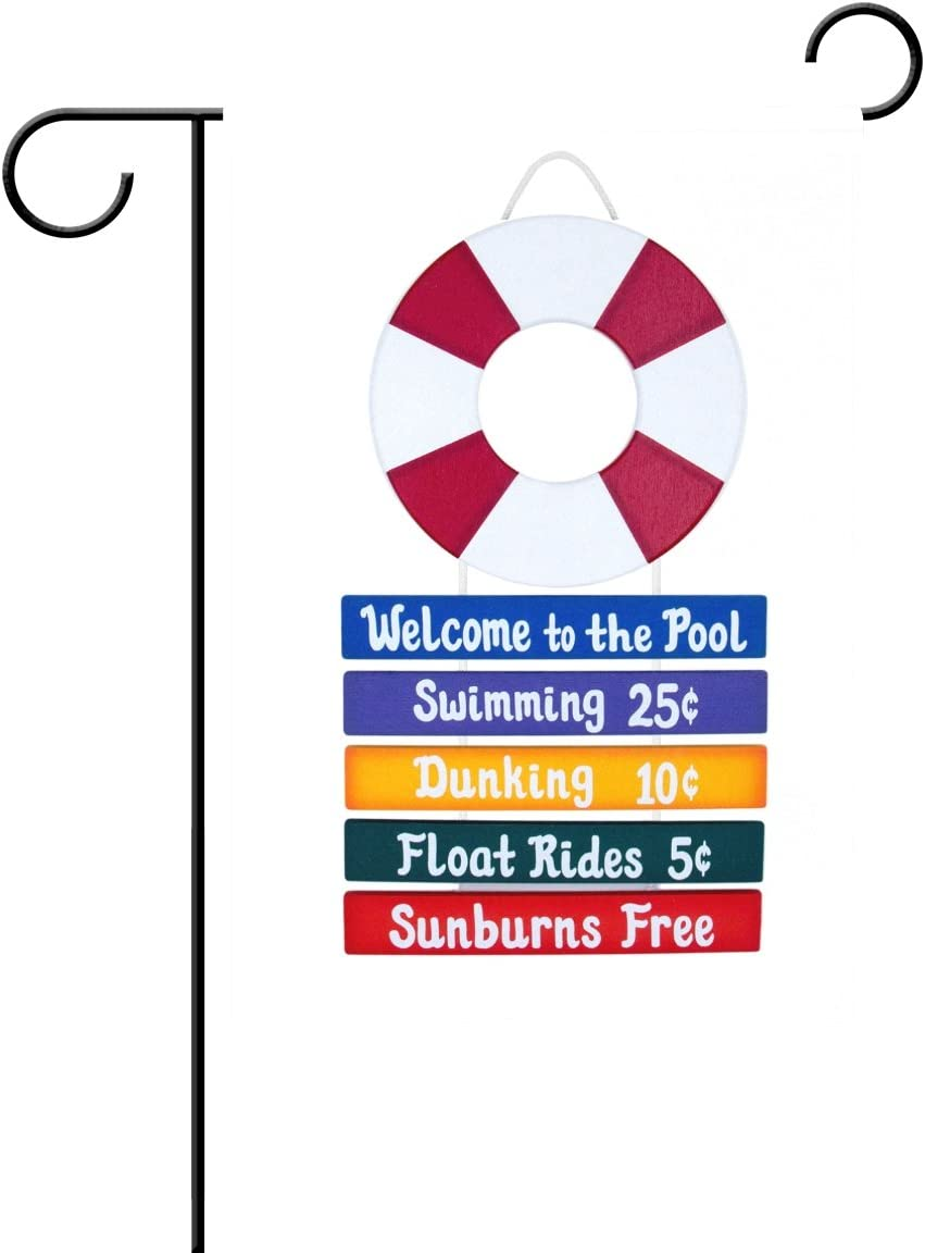 imobaby Pool Welcome Sign Waterproof Polyester Fabric Garden Flag 12 x 18 inches