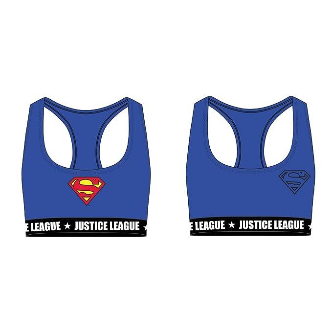 Justice League Sujetadores Deportivos de Algodón para Niñas Superman Wonder Woman (8/10 años