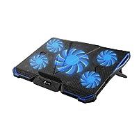 KLIM Cyclone - Refroidisseur PC Portable - Refroidissement Maximal - 5 Ventilateurs - Support Ventilé pour Ordinateur - Gamer Gaming (Bleu)