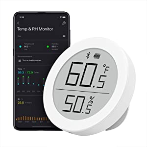 Qingping Digital Bluetooth Thermometer Hygrometer, Accurate Temperature Humidity Monitor, Indoor Smart Temperature Sensor and Humidity Gauge with E Ink Display, 30-Day Free Data Storage for Home