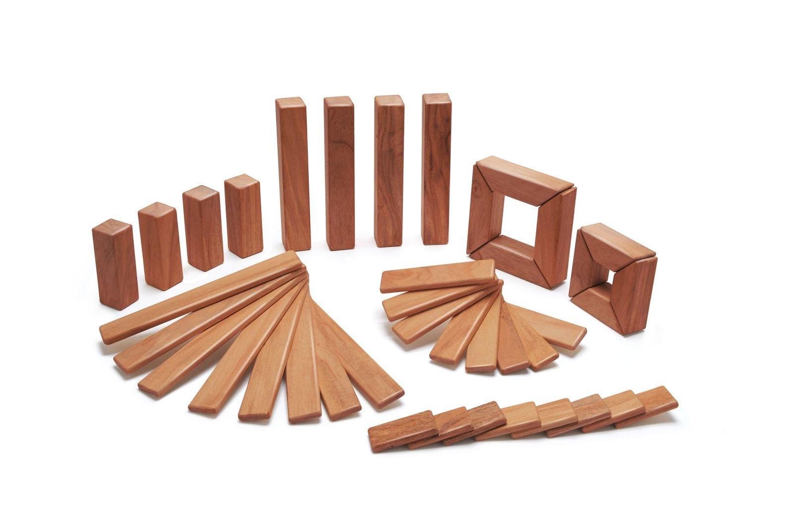 40 Piece Tegu Explorer Magnetic Wooden Block Set, Mahogany