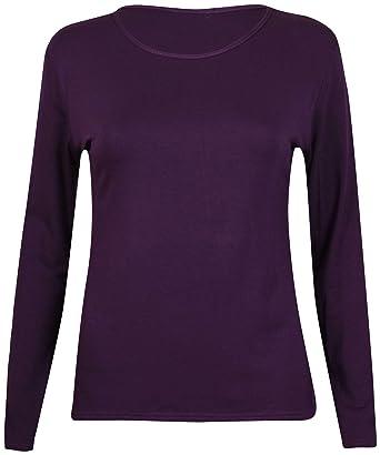 1df733b87 New Ladies Plain Stretch Fit Long Sleeve Womens T-Shirt Round Neck Basic  Top Purple Size 8 - 10: Amazon.co.uk: Clothing