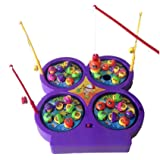 4 Fishing Rods 32 Fishes Lovely Mini Electronic Magnetic Fishing Board Game Toys Set with Music for Kids Boys Girls (Random Delivery)