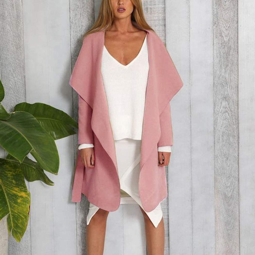 Womens Wool Coat Lapel Belted Wrap Pea Overcoat Casual Long Sleeve Trench Outwear Jacket with Pockets