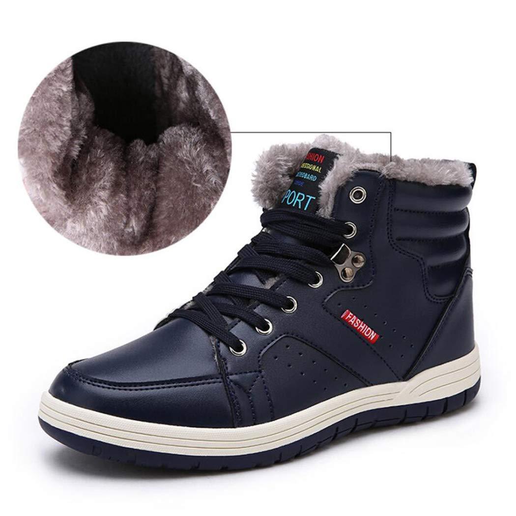 XxoSchuhe Winter-Leder-Schnee-Aufladungen der Männer schnüren Sich Knöchel-Turnschuh-hohe Spitzenwinter-Schuhe mit Pelz-Futter