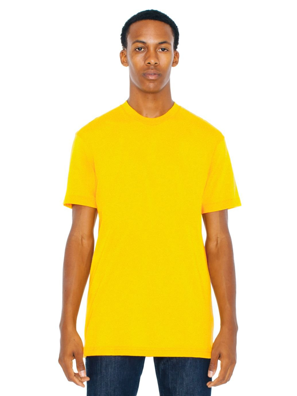American Apparel Poly-Cotton Short Sleeve Crew Neck, Gold, X-Large