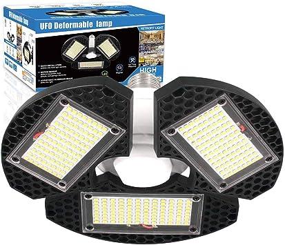 LED Shop Lights For Garage 3 Deformable Panels Ceiling Lights High Bay Light 60W