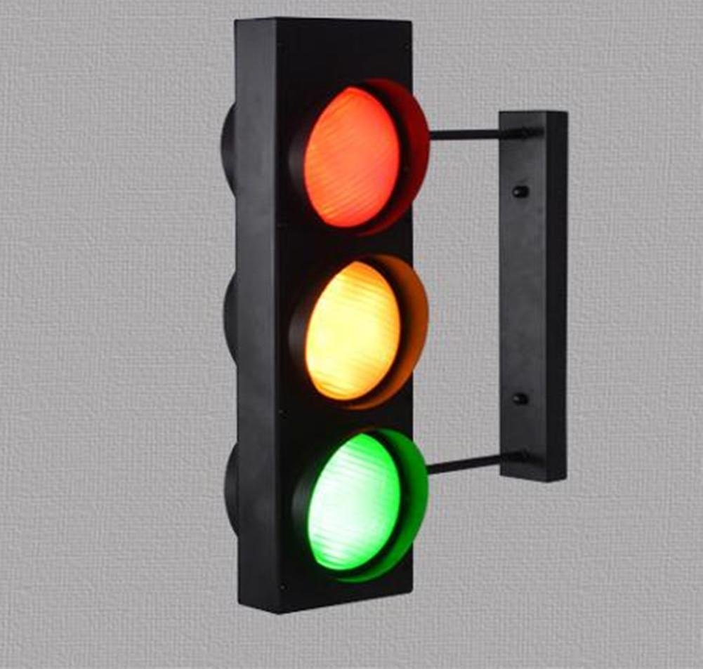 DMMSS Instruction room children's room creative outdoor traffic traffic lights warning wall lamp decoration bar intelligent remote control wall lamp