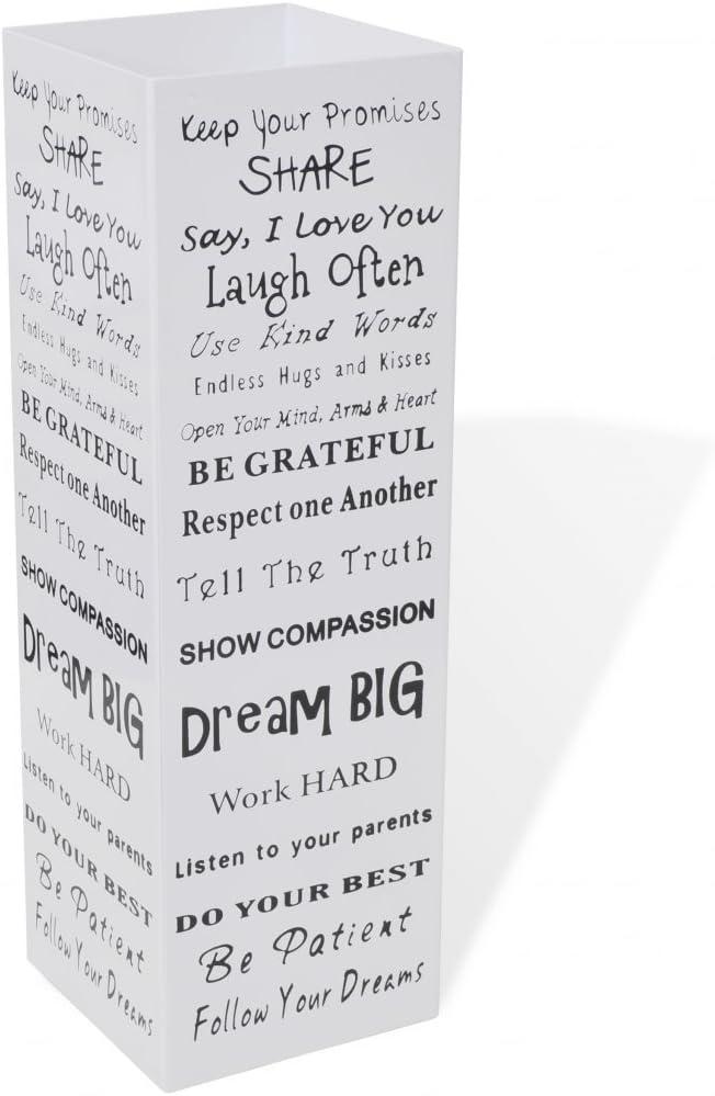 Festnight Paragüero Cuadrado Guarda Bastones - Color de Blanco Material de Acero, 15,5x15,5x48,5 cm