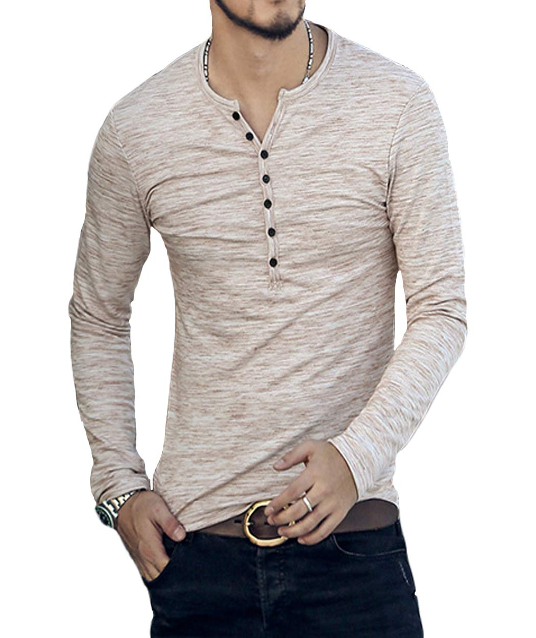 Neoyowo Men's Henley Shirt Casual Slim Fit Long Sleeve T-Shirt Soft V Neck Buttons Muscle Tops (Apricot, S)