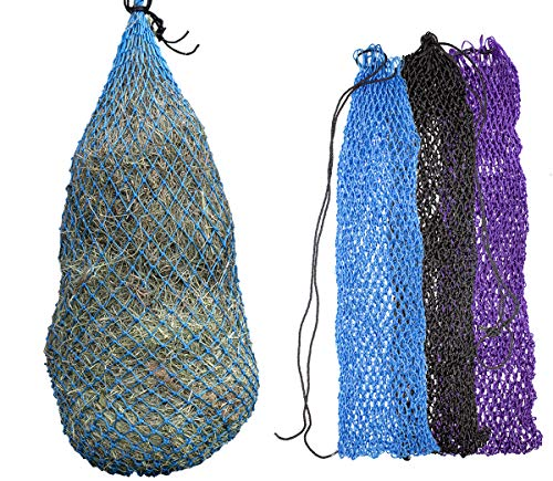 Derby Originals Super Slow Feed Poly Rope Hanging Full Bale Hay Net Holds 12-16 Flakes, Hurricane Blue, 56