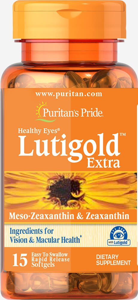 Puritan's Pride Healthy Eyes Lutigold Extra with Zeaxanthin Trial Size-15 Softgels