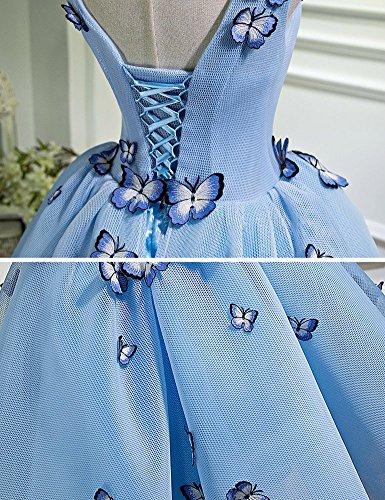 Drasawee Arricchito Tulle Vestito Sfera Blu Di Vestito Breve Partito Ritorno Casa Juniores Farfalla Di Da A 1Sdw1q