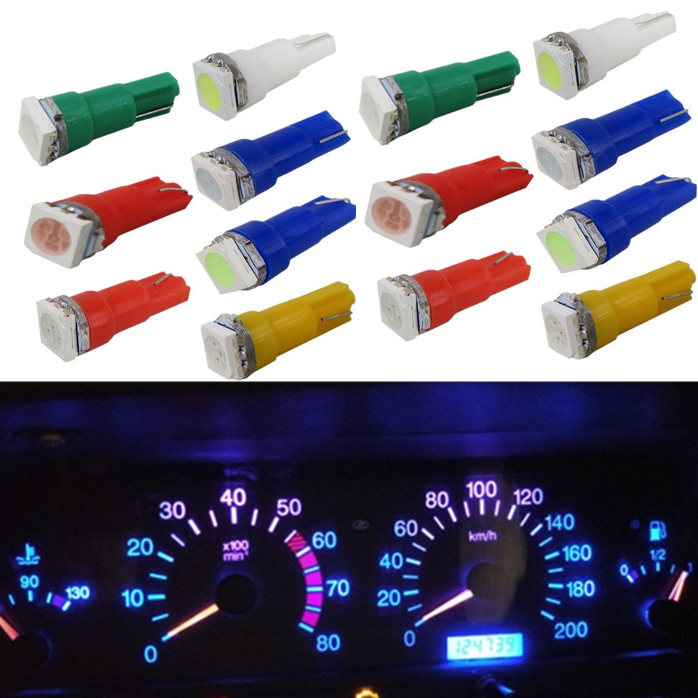 WLJH 70pcs T5 74 2721 LED Bulbs 5050SMD White Yellow Pink Blue Green Red LED Bulb Replacement for Gauge Cluster Instrument Panel License Plate Lights